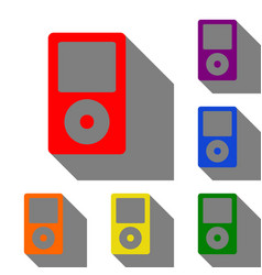 portable music device set of red orange yellow vector image