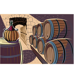 Ancient wine cellar crammed with the wine barrels vector