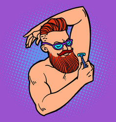 Bearded hipster man shaves his armpit with a razor vector