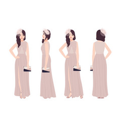 Beautiful young woman in elegant evening dress vector