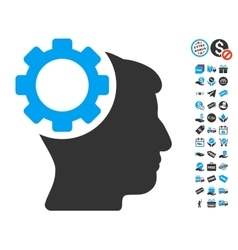 Brain Gear Icon With Free Bonus vector
