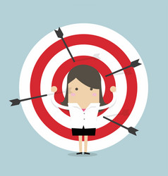 businesswoman on archery targets vector image