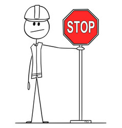 cartoon construction worker holding red stop vector image