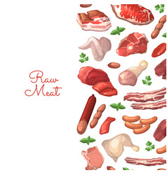 Cartoon meat elements background vector