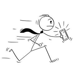 Cartoon of businessman running with ringing vector