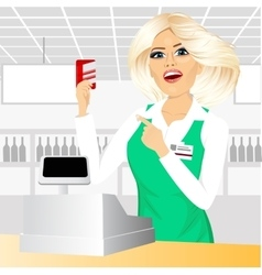 Cashier pointing at a credit card vector
