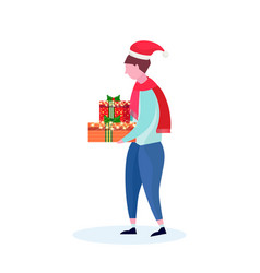 casual man wearing hat holding gift box happy new vector image