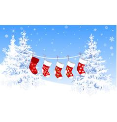 christmas socks 1 vector image