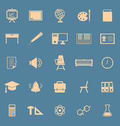 classroom color icons on blue background vector image