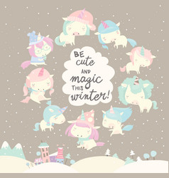 collection funny unicorn on gray winter vector image