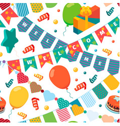 colored bunting flags pattern kids birthday party vector image