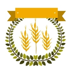 Colorful olive crown and label with wheat vector