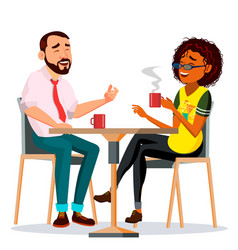 Couple in restaurant man and woman vector