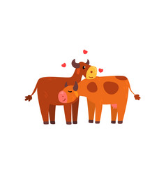 couple of cows in love embracing each other two vector image