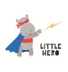 Cute hippopotamus superhero vector
