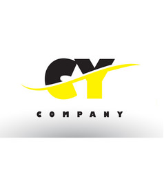 cy c y black and yellow letter logo with swoosh vector image