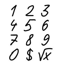 decimal digits scribble sketch vector image