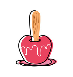 Delicious candy apple fruit snack vector
