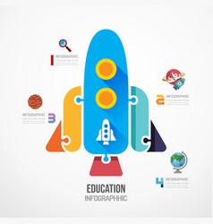 education rocket shape jigsaw banner concept vector image