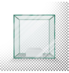 Empty transparent glass box cube realistic vector