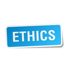 Ethics blue square sticker isolated on white vector