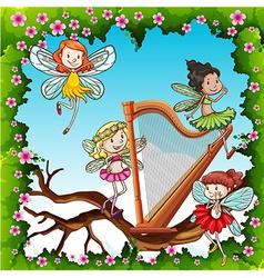 Fairies flying in the garden vector