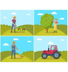 Farmer watering aubergines set vector