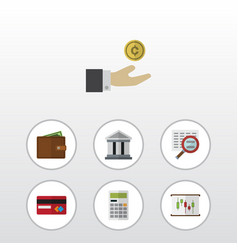 Flat icon finance set of scan bank payment and vector