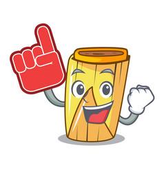 Foam finger tamale with corn leaf in cartoon vector