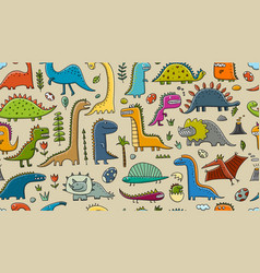 funny dinosaurs childish style seamless pattern vector image