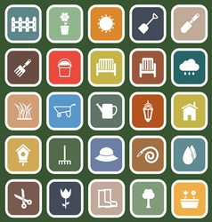 Gardening flat icons on green background vector