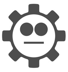 Gear neutral smiley flat icon vector