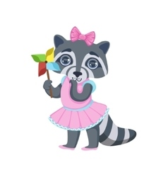 Girl Raccoon With Origami Toy vector