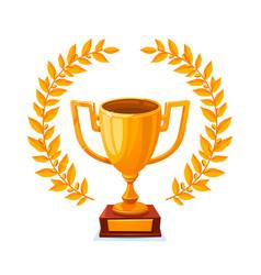 golden metallic trophy cup first place winner vector image