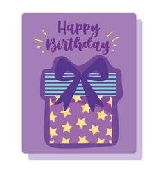 happy birthday starry gift box cartoon vector image