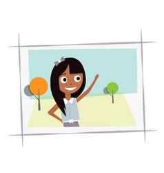 Happy young girl in the photo vector