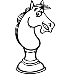 Horse chess cartoon coloring page vector