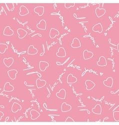 I Love You Phrase and Hearts Seamless Pattern vector image