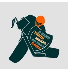 Ice hockey goalie with knight shield vector