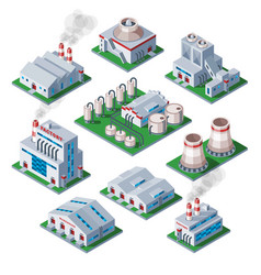 Isometric 3d factory building industrial element vector