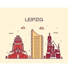 Leipzig skyline linear style vector