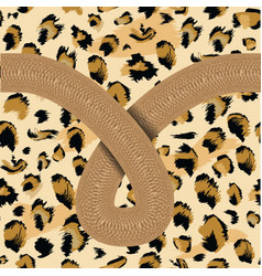 leopard skin seamless with snake line flat and vector image