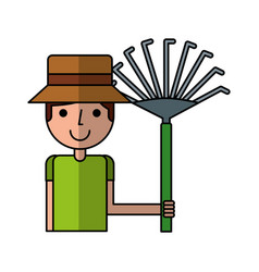 Little gardener with rake character icon vector