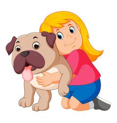 Little girl is hugging dog vector