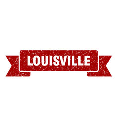 Louisville ribbon red louisville grunge band sign vector