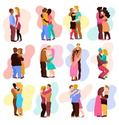 Love hugs set vector