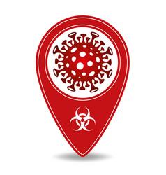 Map pointer with novel corona virus symbol vector