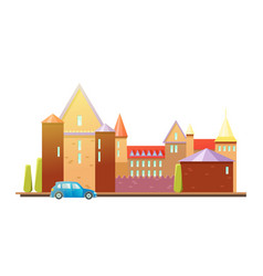 medieval castle with fortified wall and towers vector image