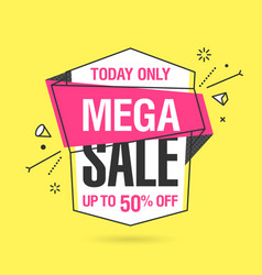 Mega sale banner template in flat trendy memphis vector