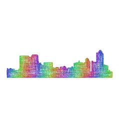 Memphis skyline silhouette - multicolor line art vector